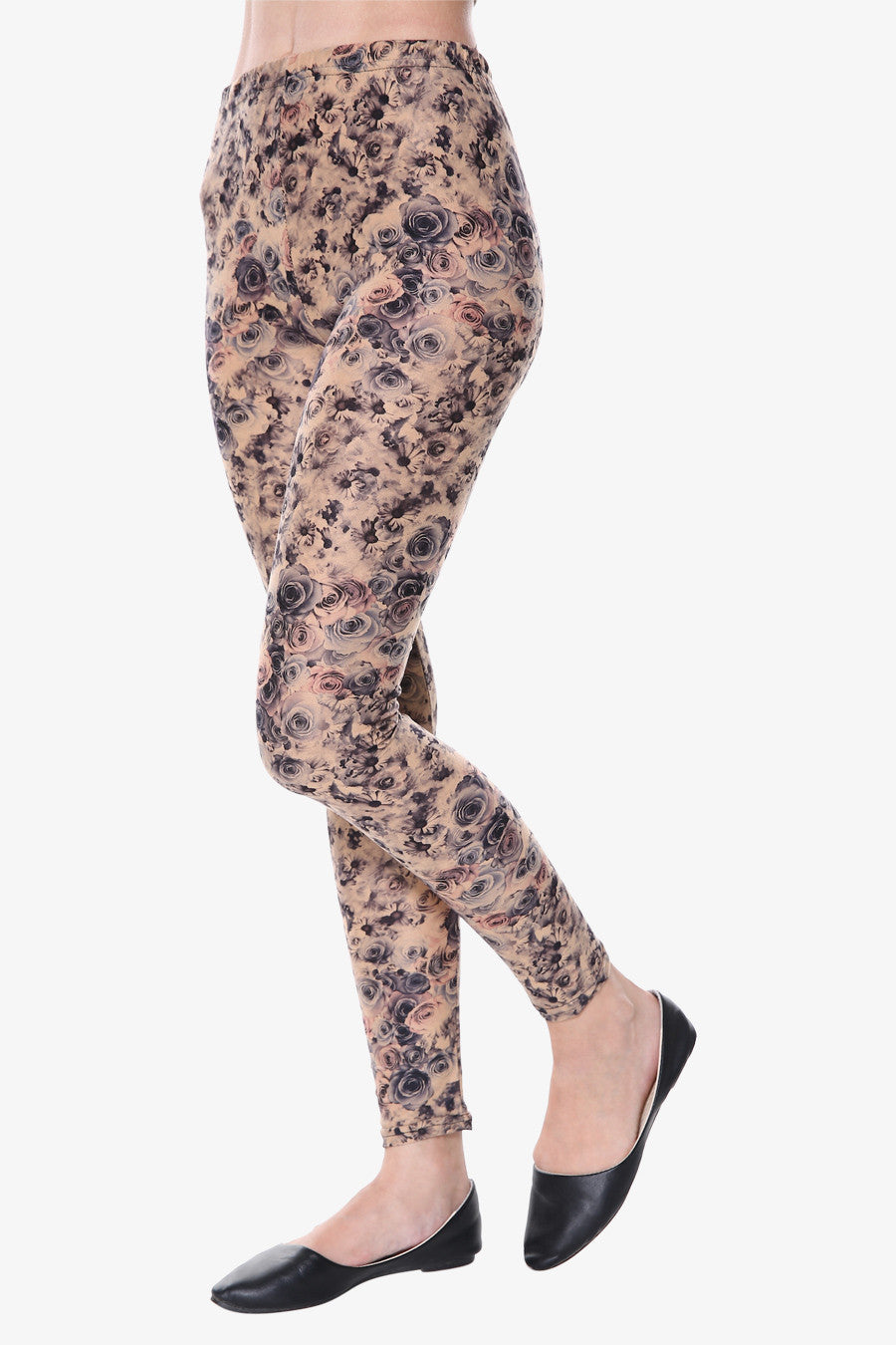 Rose Print Leggings In Tan