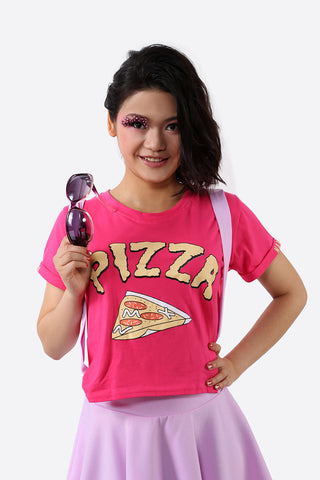 Pizza Novelty Crop Top In Fuchsia
