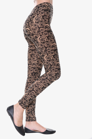 Vintage Rose Print Leggings