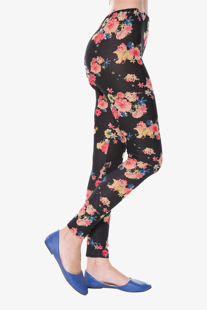 Inspired Black Floral Leggings