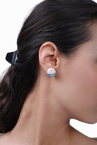 Cute White and Blue Earrings