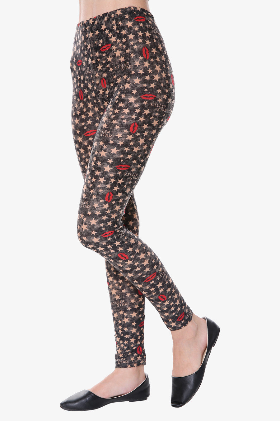 Star & Lips Print Leggings