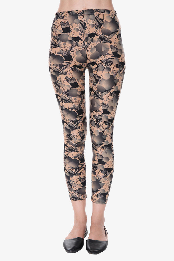 Vintage Ditsy Print Leggings In Tan
