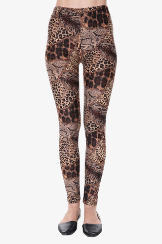 Leopard Print Leggings In Brown