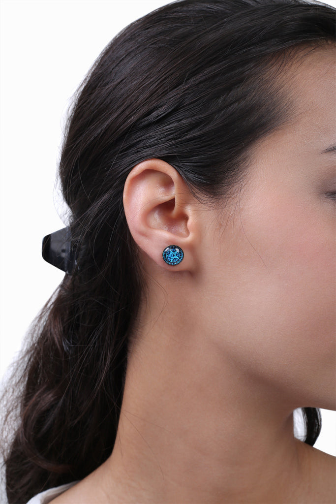 Retro Cosmic Blue Earrings