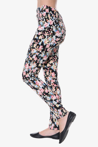 Floral Print Leggings In Black