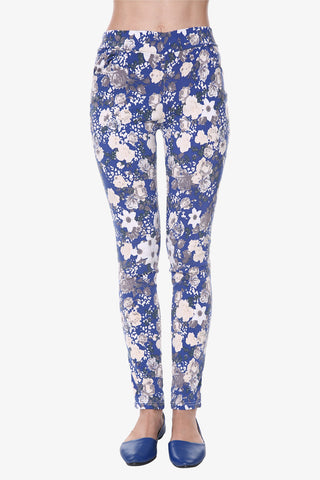 Floral Print Leggings In Blue