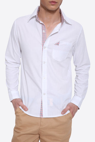 Slim Fit Long Sleeve Shirt In White