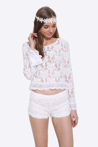 Boho Crochet White Shorts