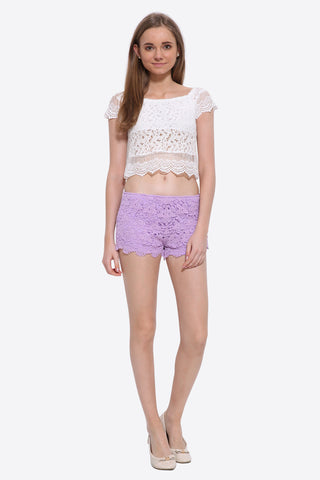 '70s Boho Floral Lace Crop Top