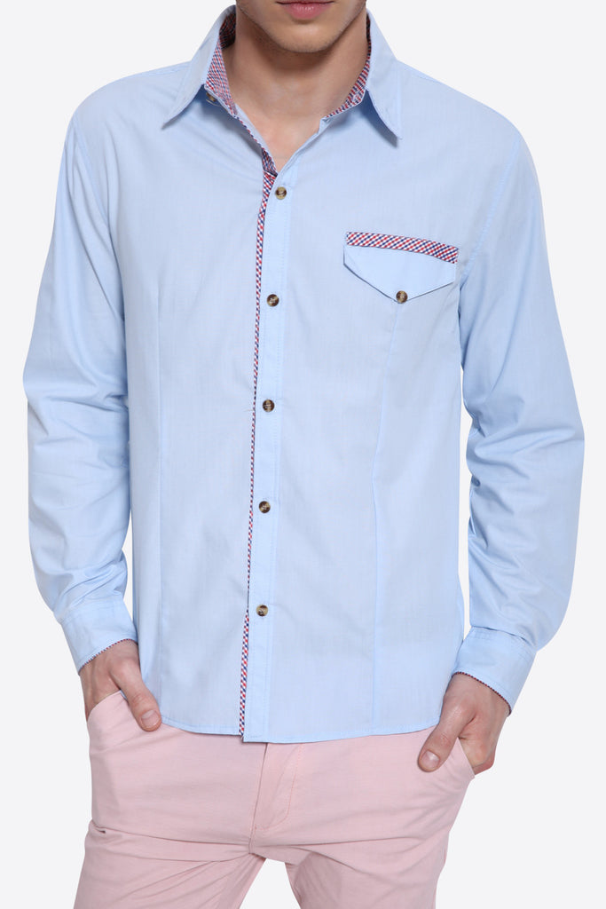 Slim Fit Long Sleeve Shirt In Blue