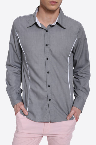 Elegant Long Sleeve Shirt In Gray