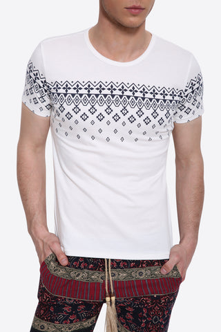 White Slim Fit Argyle Printed T-Shirt