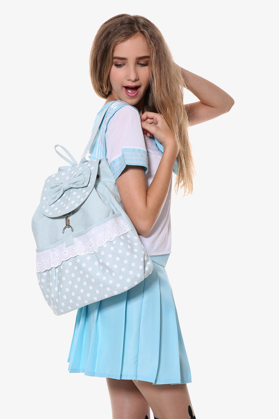 Blue Polka Dot Backpack