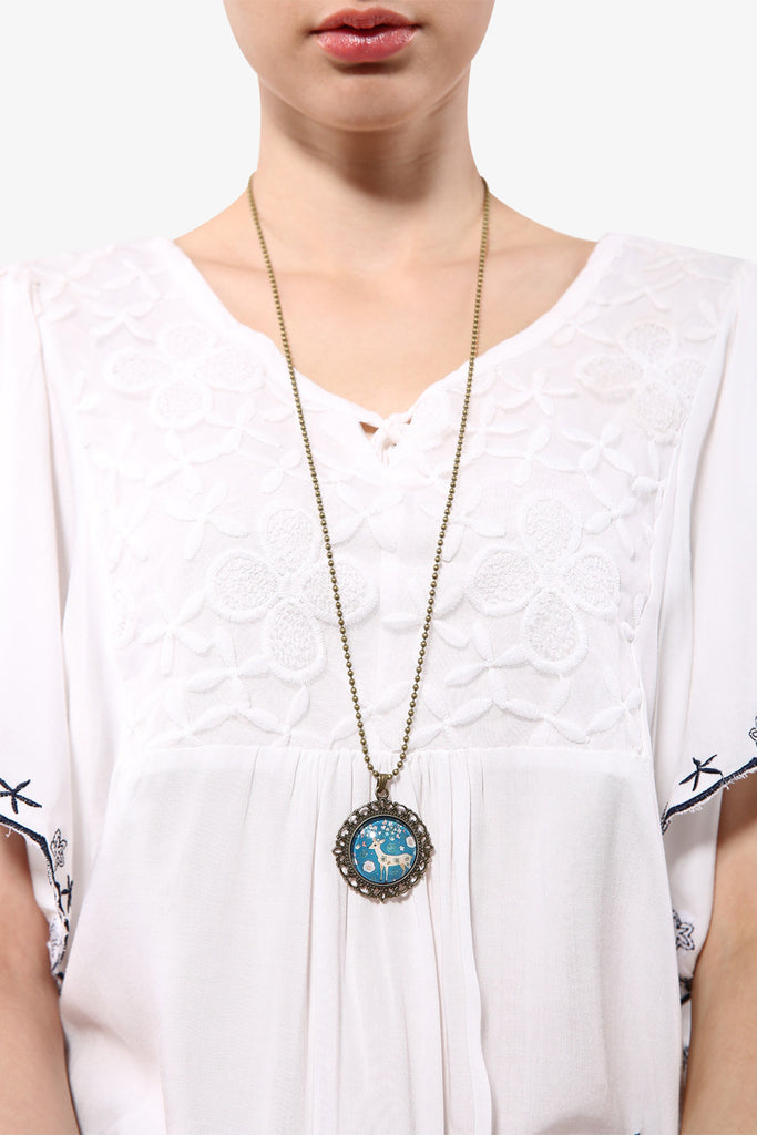 Retro Rosette Elk Necklace With Floral