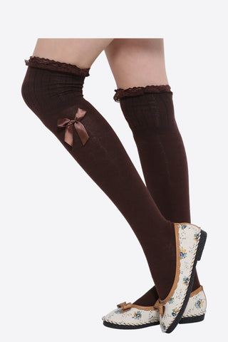 Retro Lace Knee Socks In Brown