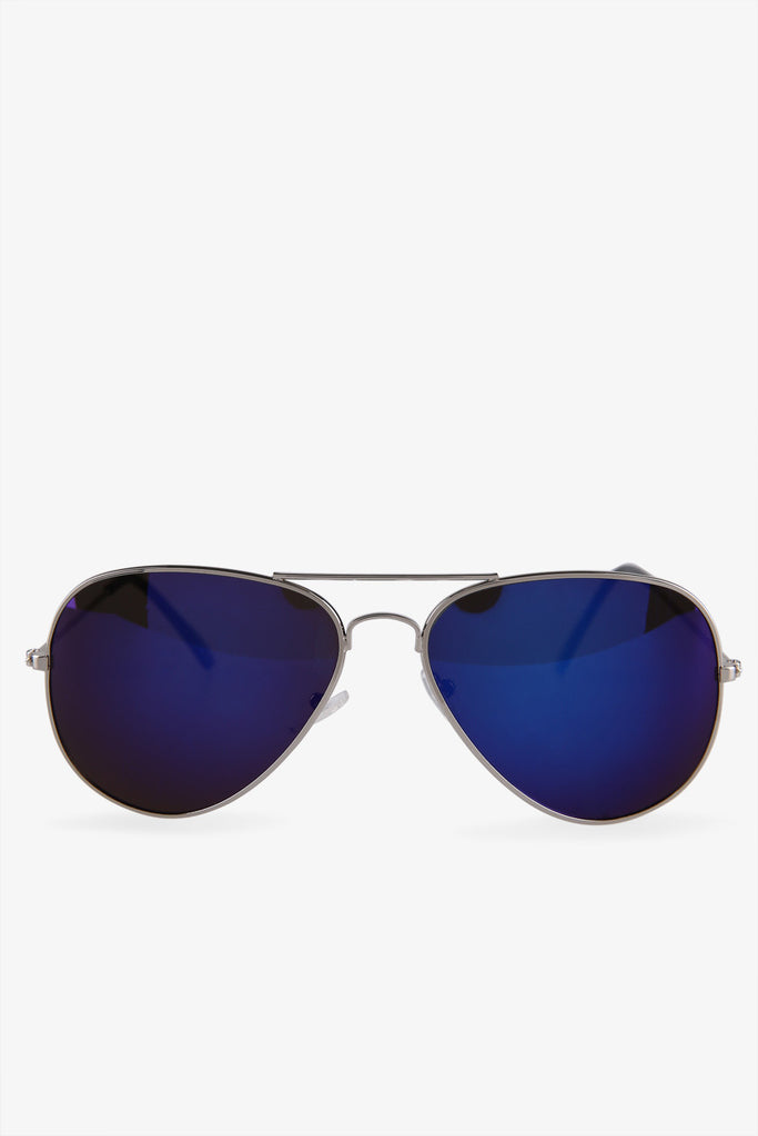Classic Silver Aviator Sunglasses In Blue