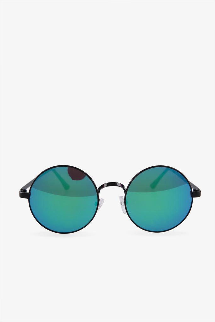 Vintage Gradient Blue Round Sunglasses In Black