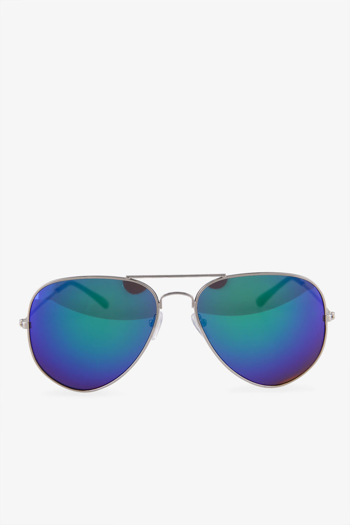 Silver Aviator Sunglasses In Gradient Blue