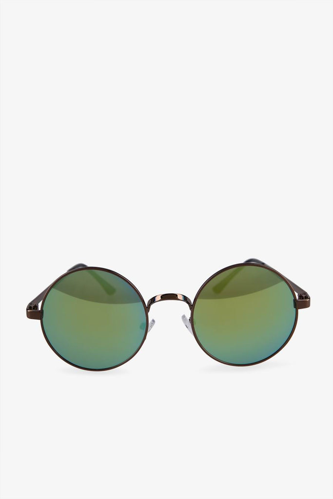 Vintage Gradient Green Round Sunglasses In Black
