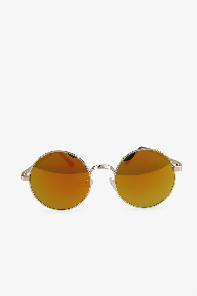 Oversized Silver & Yellow Round Sunglasses