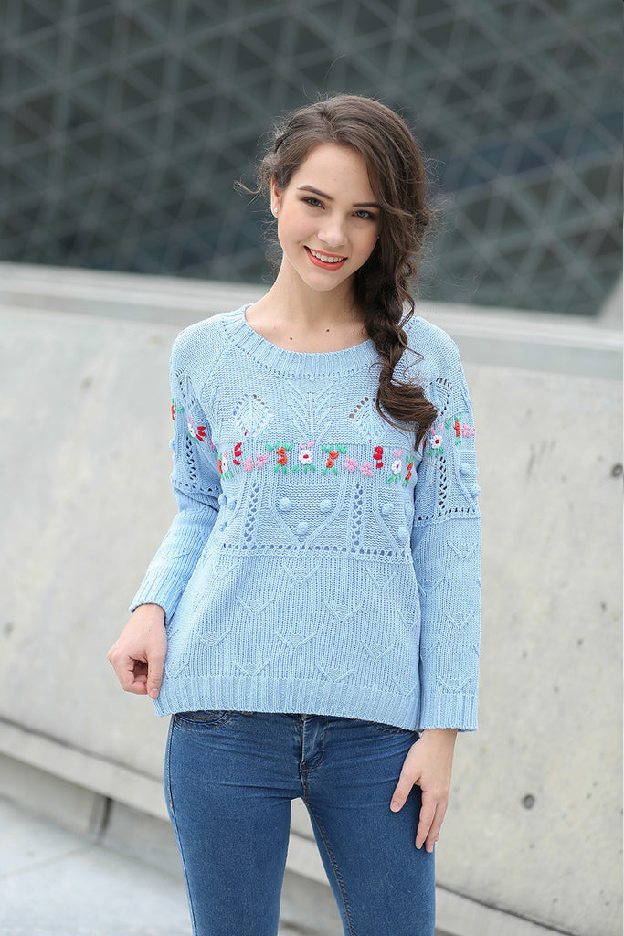 Retro Inspired Floral Knit Sweater In Blue