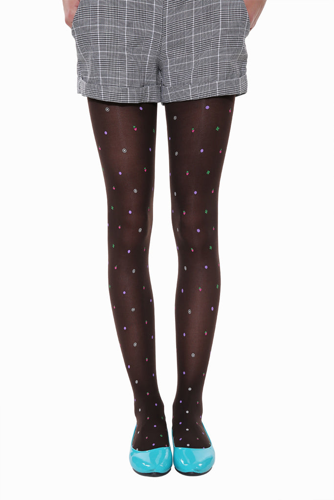 Cute Candy Fruits Tights In Black