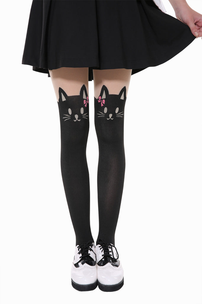 Cute Cat Wear Pink Bow Tights