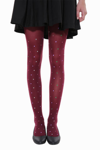 Cute Candy Fruits Tights In Burgundy