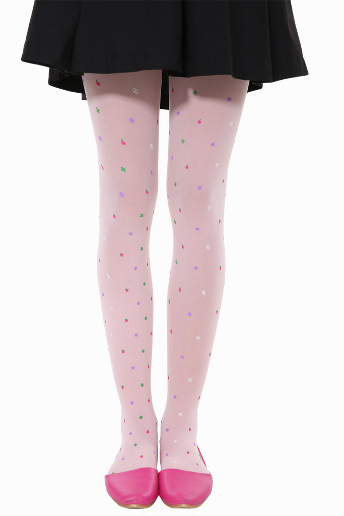 Cute Candy Fruits Tights In Pink