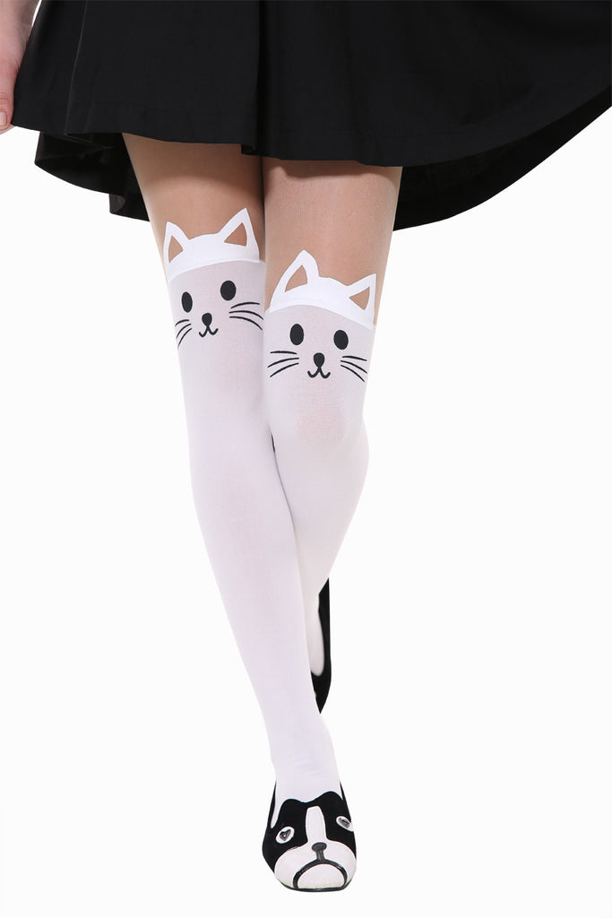 Cute Little Cat Is Dreaming Tights