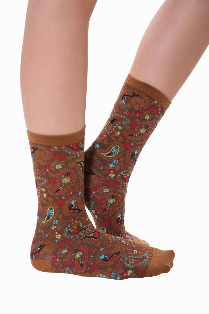 Paramecium Inspired Socks In Brown
