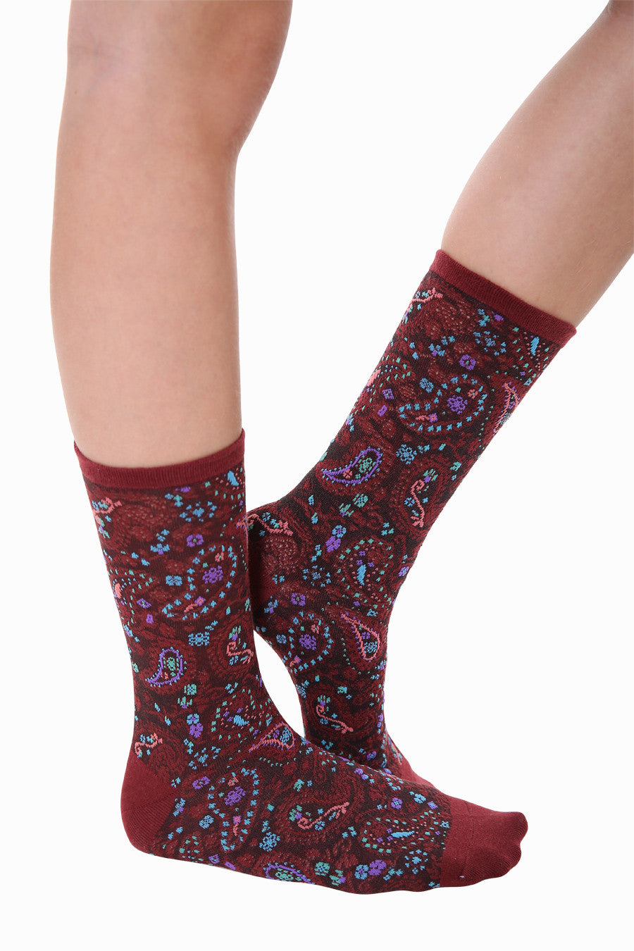 Vintage Print Socks In Burgundy