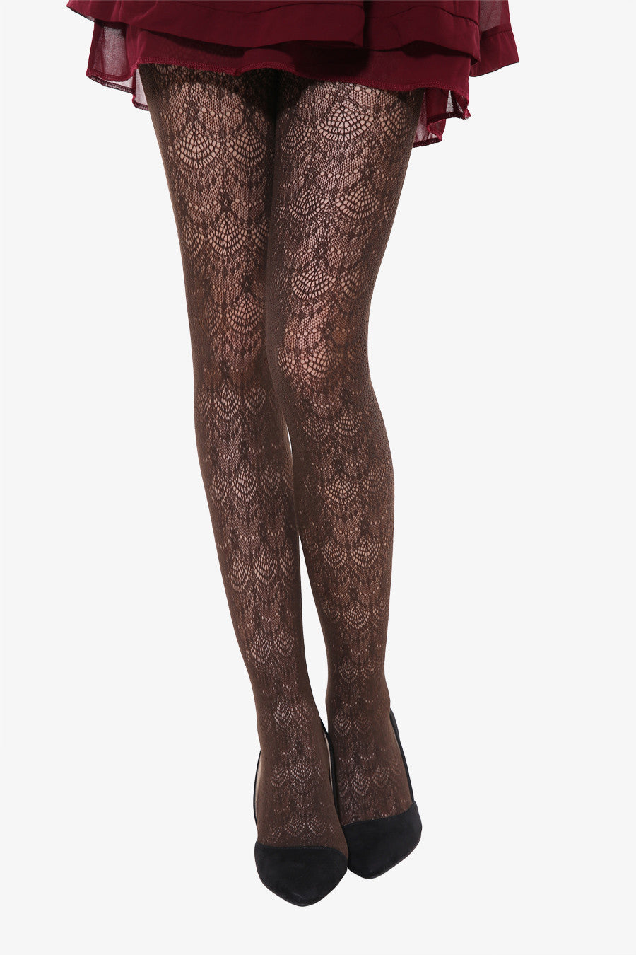 Peacock Tails Tights In Brown