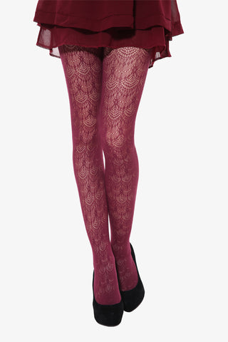 Peacock Tails Tights In Burgundy