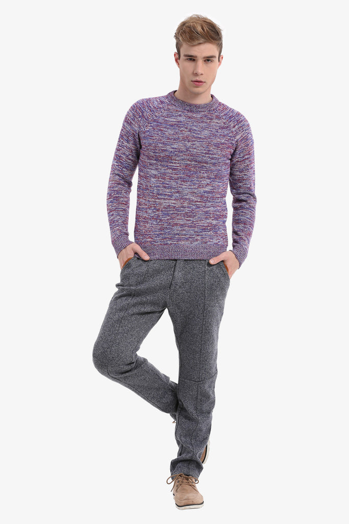 Men's Multicolour Purple Sweater
