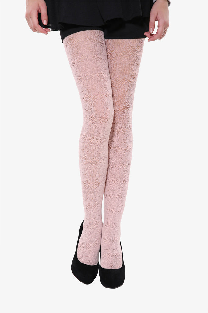 Peacock Tails Tights In Beige