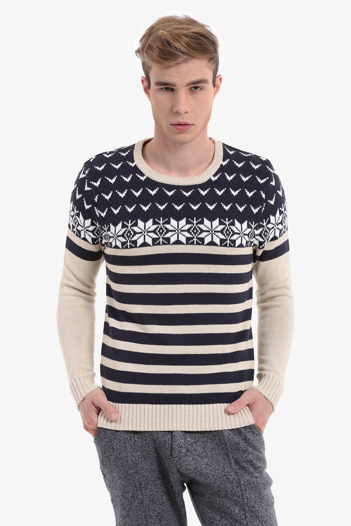 Men's Navy Patterned Sweater