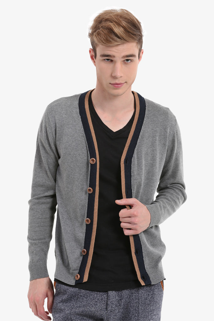 Men's Gray Button Up Cardigan