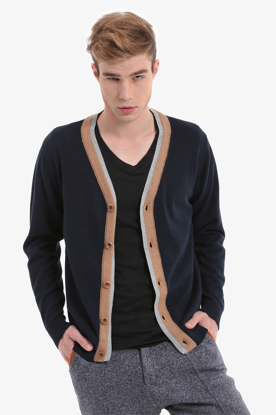 Men's Navy Button Up Cardigan