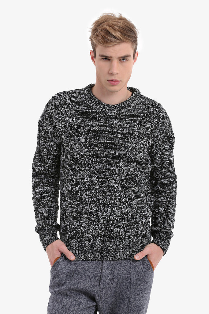 Men's Textured Gray Sweater