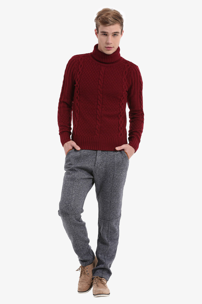 Plum Men's Sweater In Burgundy