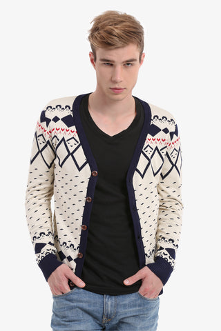 Beige Patterned Men's Button Up Cardigan
