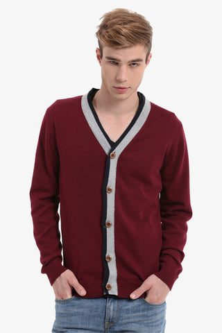 Men's Burgundy Button Up Cardigan