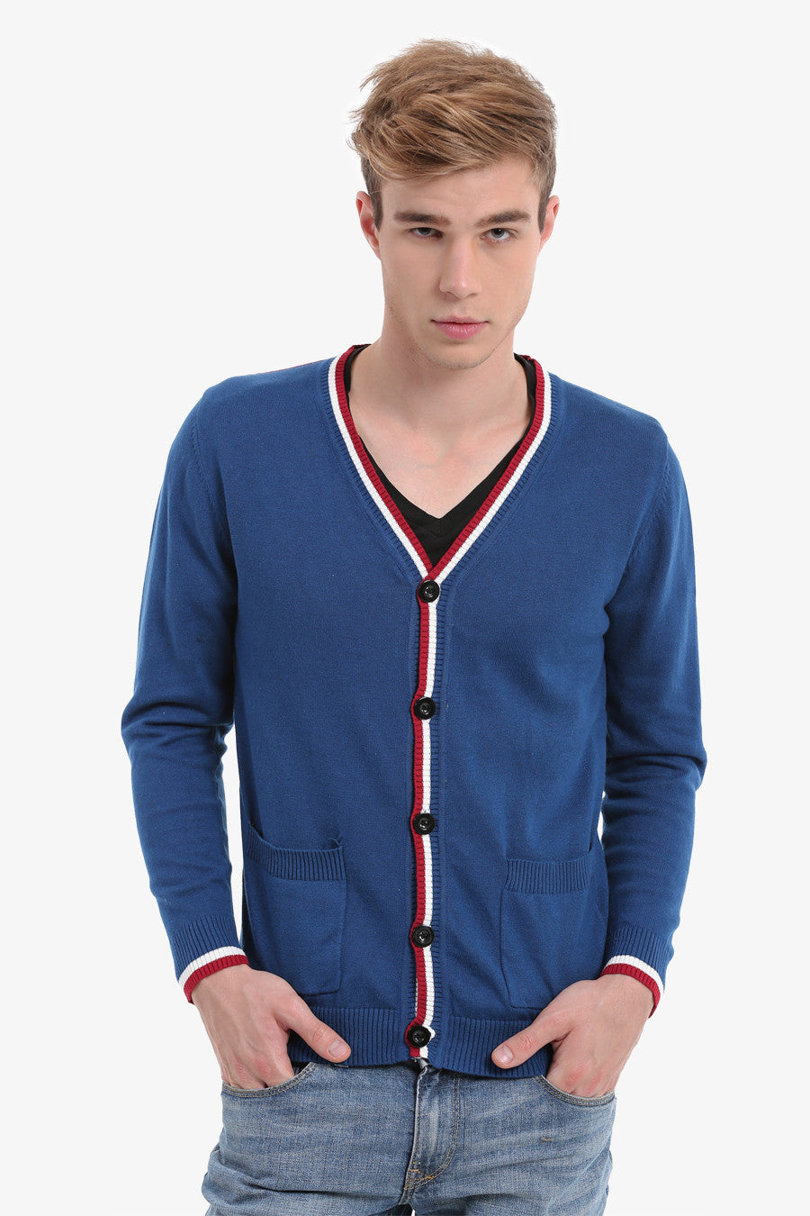 Blue Men's Button Up Cardigan
