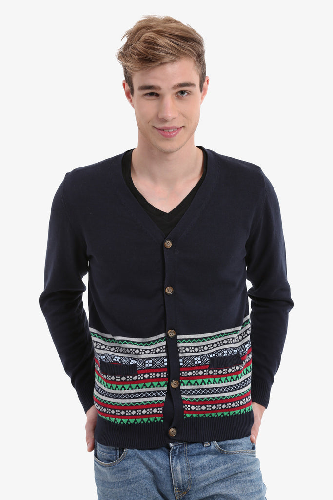 Navy Men's Button Up Cardigan