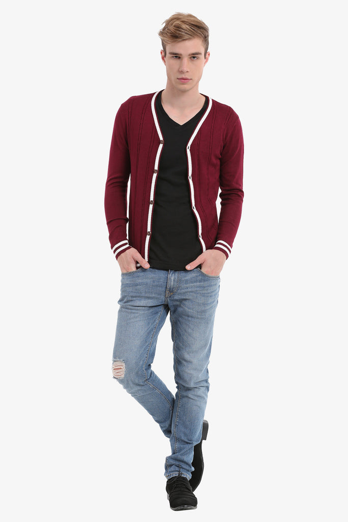 Burgundy Men's Vintage Cardigan