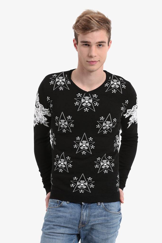 Men's Stars Pattern Sweater In Black
