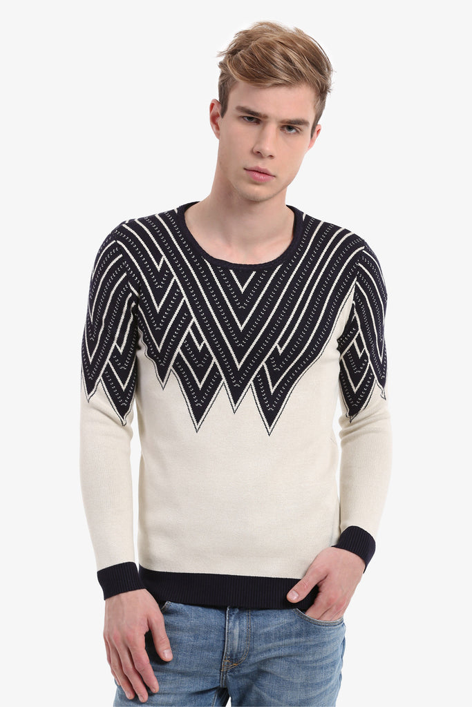 Men's Indian Pattern Sweater In White