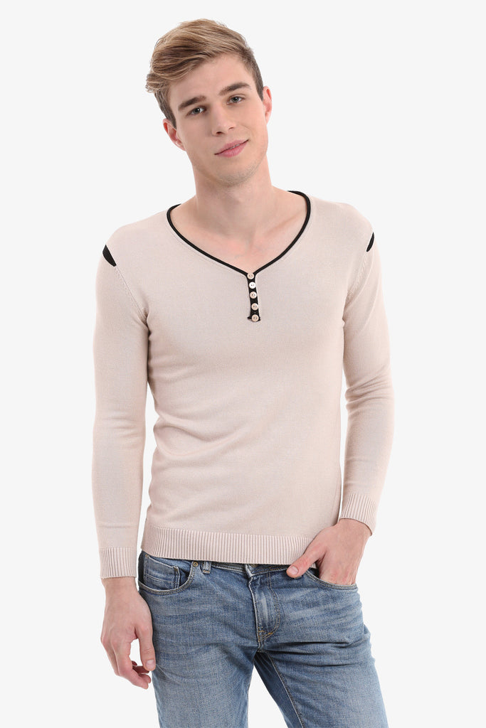 Men's Cream Low Cut Sweater